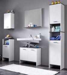 Badmöbel komplett Set California weiß und Sardegna grau / Rauchsilber 5-teilig mit Spiegel
