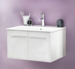 Badmöbel Waschbeckenunterschrank weiß Glanz inklusive Waschbecken TTB3