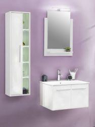 Badmöbel Set weiß Glanz mit Waschbeckenunterschrank inkl. Waschbecken, Hängeschrank und Badspiegel TTB3