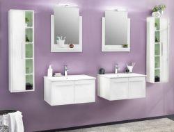 Badmöbel Set weiß Glanz 6-teilig mit Doppelwaschplatz inkl. Waschbecken TTB3
