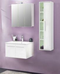 Badmöbel Set weiß Glanz mit Waschbeckenunterschrank inkl. Waschbecken, Hängeschrank und Spiegelschrank TTB3
