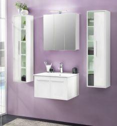 Badmöbel Set weiß Glanz Unterschrank inkl. Waschbecken 2x Hängeschrank Spiegelschrank TTB3