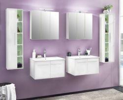 Badmöbel komplett Set weiß Glanz 6-teilig Doppelwaschplatz mit Waschbecken Hängeschrank TTB3