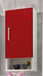 Badezimmer Hängeschrank mit Dekofach weiß und rot 30 x 68 cm Adola