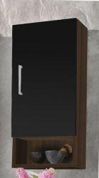 Badezimmer Hängeschrank mit Dekofach Walnuss-schwarz 30 x 68 cm Adola