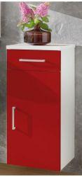 Badezimmer Unterschrank mit Schublade in weiß-rot 30 x 74 cm Adola