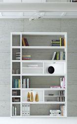 Wohnwand Bücherwand MDor Dekor Lack weiß Hochglanz LED-Beleuchtung Breite 147 cm