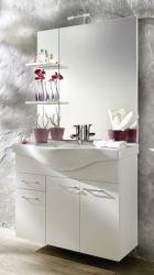 Waschplatz komplett Set in weiß mit Keramikbecken und Beleuchtung 90 cm Adola