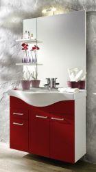 Waschplatz komplett Set in weiß und rot mit Keramikbecken und Beleuchtung 90 cm Adola
