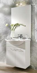 Waschplatz komplett Set in weiß mit Keramikbecken und Beleuchtung 66 cm Adola