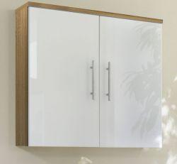 Badmöbel Hängeschrank Salona in Sonoma-Eiche-weiß Hochglanz 70 cm