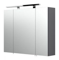 Badezimmer Spiegelschrank Rima in anthrazit inklusive LED Spiegellampe 80 x 62 cm 3-türig