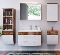 Badmöbel Set Rima Walnuss-weiß Hochglanz 5-teilig inkl. Waschbecken und Beleuchtung