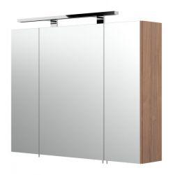 Badezimmer Spiegelschrank Rima in Walnuss inklusive LED Spiegellampe 80 x 62 cm 3-türig