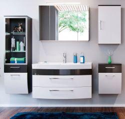Badmöbel Set Rima weiß Anthrazit Hochglanz 5-teilig 190cm breit inkl. Waschbecken und Beleuchtung