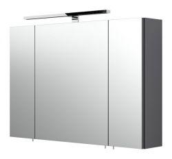 Badezimmer Spiegelschrank Rima in anthrazit inklusive LED Spiegellampe 90 x 62 cm 3-türig