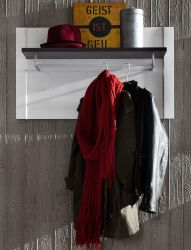 Flurgarderobe Garderobenpaneel Dakota in Pinie Struktur weiß und Touchwood dunkelbraun