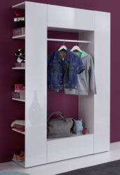 Flurgarderobe weiß Hochglanz kompakt Garderobe 123 x 195 cm Catwalk