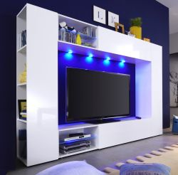 Wohnwand Boost in weiß Hochglanz Fernsehschrank inkl. LED Beleuchtung 232 cm