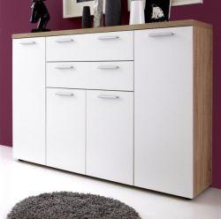 Sideboard Kommode Bravo in weiß Dekor und Eiche Sägerau hell 148 x 103 cm