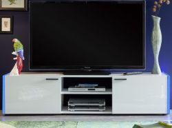 TV-Lowboard Shark Lack weiß Hochglanz Unterteil inkl. seitlicher Ambiente-Beleuchtung 160 x 39 cm
