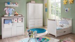 Babyzimmer weiss Pinie komplett Set 3-6 teilig mit Kleiderschrank Babymöbel Nils