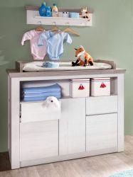 Babyzimmer Wickeltisch Nils Pinie Struktur weiß und braun Woodlook
