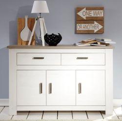 Sideboard Lotte in Pinie Struktur weiß und Nelson Eiche Dekor