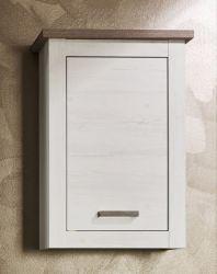 Badschrank Hängeschrank in Pinie Struktur weiß und Nelson Eiche Landhaus Lotte 53x76 cm