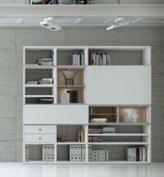 Wohnwand Bücherwand MDor Dekor Lack weiß Hochglanz Eiche Natur LED-Beleuchtung Breite 241 cm
