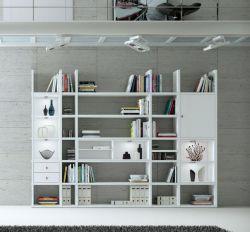 Wohnwand Bücherwand MDor Dekor Lack weiß Hochglanz LED-Beleuchtung Breite 298 cm