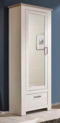 Flur Garderobenschrank Schuhschrank Pinie Struktur weiß und Nelson Eiche Dekor mit Spiegel Landhaus Lotte