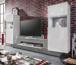 Wohnwand Schrankwand Air Media in Hochglanz weiß und Beton grau inkl. LED-Beleuchtung