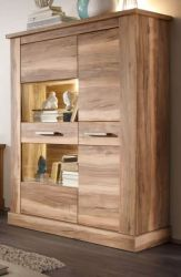 Highboard in Nussbaum Satin Vitrine Montreal 106 x 149 cm