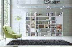 Wohnwand Bücherwand MDor Dekor Lack weiß Hochglanz Eiche Natur LED-Beleuchtung Breite 343 cm