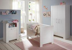 Babyzimmer komplett Set Miri Pinie weiß 3-6 teilig mit Kleiderschrank 104 cm