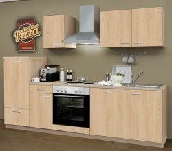 Küchenblock Einbauküche Classic inkl. E-Geräte + Geschirrspüler 270 cm breit in Eiche Sonoma Dekor