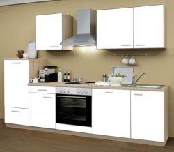 Küchenblock Einbauküche Classic inkl. E-Geräte + Geschirrspühler 280 cm breit in matt weiß