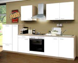 Küchenblock Einbauküche Classic 300 cm Einbauküche inkl. E-Geräte und Apothekerschrank in matt weiß