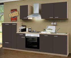 Küchenblock Einbauküche Classic inkl. E-Geräte und Geschirrspüler 300 cm breit in Eiche Lava grau