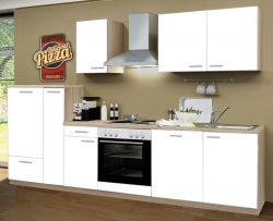 Küchenblock Einbauküche Classic inkl. E-Geräte + Geschirrspüler 300 cm breit in matt weiß