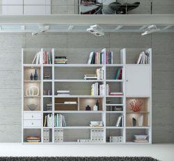 Wohnwand Bücherwand MDor Dekor Lack weiß Hochglanz Eiche Natur LED-Beleuchtung Breite 298 cm
