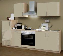 Küchenblock Einbauküche Premium inkl. E-Geräte 270 cm breit in Sahara Eiche Hochglanz