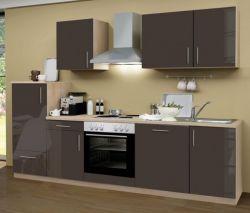 Küchenblock Einbauküche Premium inkl. E-Geräte + Geschirrspüler 280 cm breit in Lava grau Hochglanz