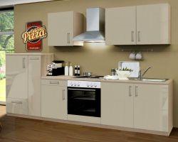 Küchenblock Einbauküche Premium 300 cm Einbauküche inkl. E-Geräte + Apothekerschrank Sahara Eiche Hochglanz