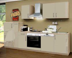 Küchenblock Einbauküche Premium inkl. E-Geräte + Geschirrspüler 300 cm breit in Sahara Eiche Hochglanz