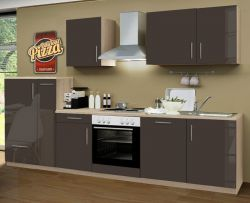Küchenblock Einbauküche Classic inkl. E-Geräte + Geschirrspüler 310 cm breit in Lava grau Hochglanz
