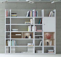 Wohnwand Bücherwand MDor Dekor Lack weiß Hochglanz Eiche Natur LED-Beleuchtung Breite 252 cm