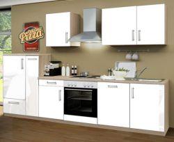 Küchenblock Einbauküche Premium inkl. E-Geräte + Geschirrspüler 310 cm breit in Hochglanz weiß