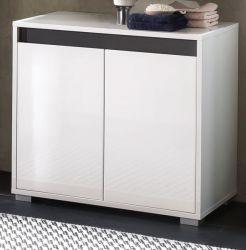 Bad Waschbeckenunterschrank SOL Lack Hochglanz weiß und grau 67x60 cm